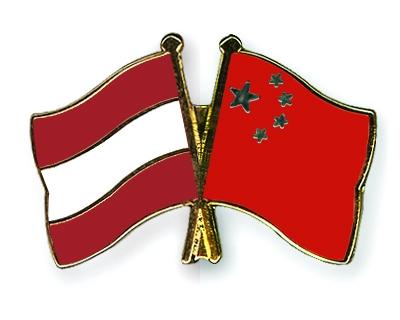 Flaggen- und Fahnen-Pins Österreich-China