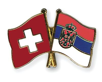 Fahnen Pins Schweiz Serbien