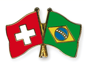 Crossed Flag Pins: Switzerland-Brazil