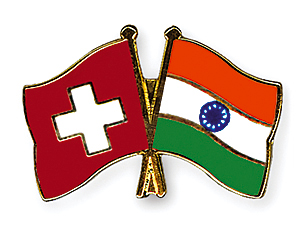 Crossed Flag Pins: Switzerland-India