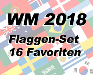fahnen set 16 fussball wm 2018 favoriten 16 fahnen 90 x. Black Bedroom Furniture Sets. Home Design Ideas