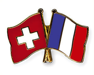Crossed Flag Pins: Switzerland-France