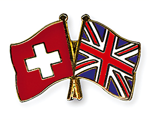 Crossed Flag Pins: Switzerland-Great Britain