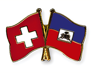 Crossed Flag Pins: Switzerland-Haiti