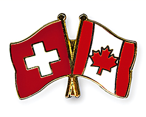Crossed Flag Pins: Switzerland-Canada