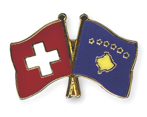 Crossed Flag Pins: Switzerland-Kosova