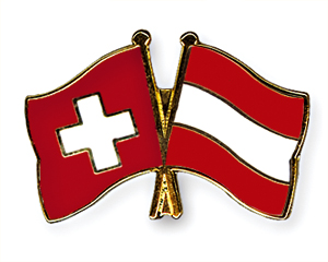 Crossed Flag Pins: Switzerland-Austria