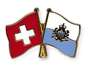 Crossed Flag Pins: Switzerland-San Marino