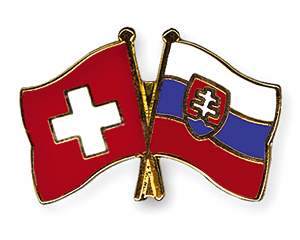 Crossed Flag Pins: Switzerland-Slovakia