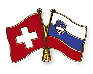Crossed Flag Pins: Switzerland-Slovenia