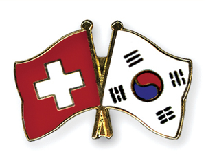 Crossed Flag Pins: Switzerland-Korea-South