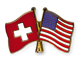 Crossed Flag Pins: Switzerland-USA